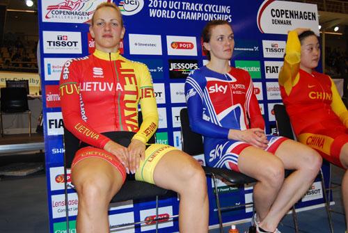 Le podium des Championnats du Monde de vitesse féminine