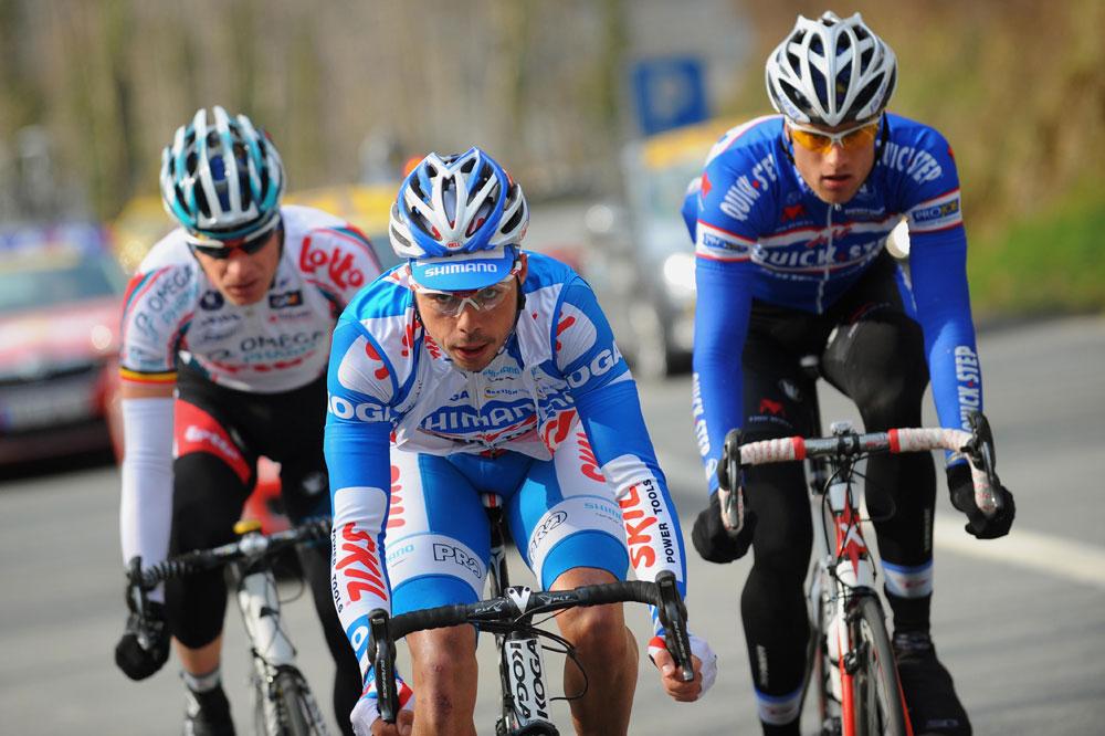 Yann Huguet échappé en compagnie de Jurgen Roelandts et Nicolas Maes