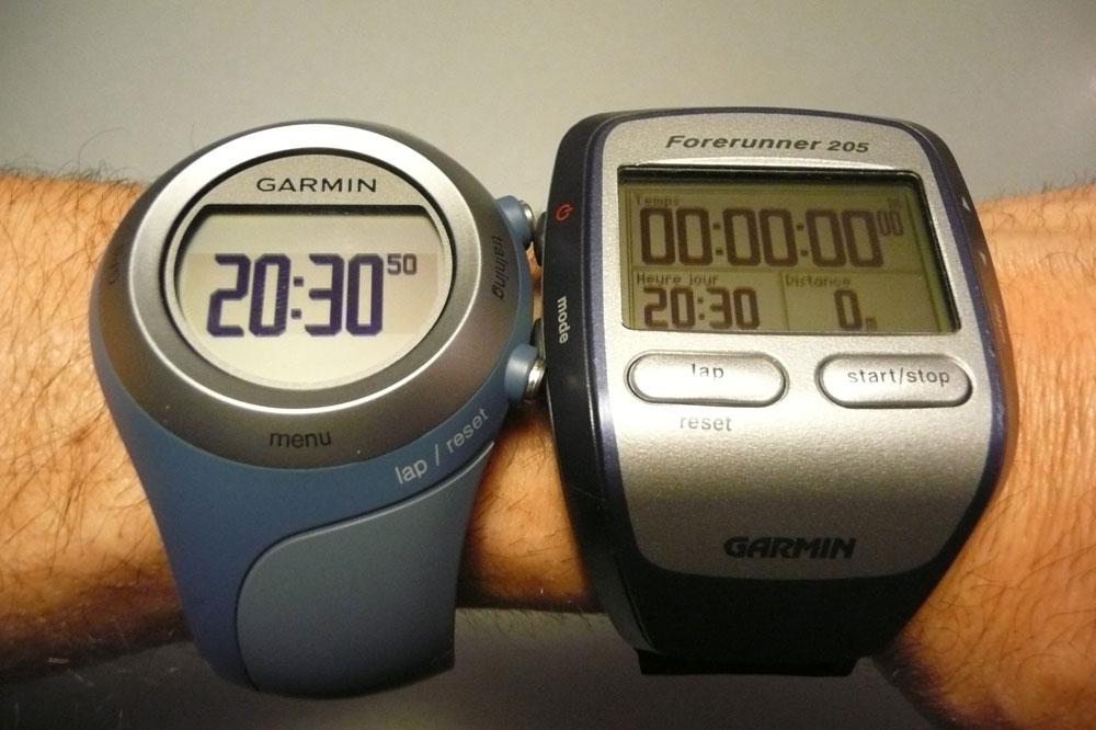 La montre GPS Garmin Forerunner 405 CX et son ancêtre Forerunner 205