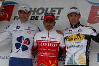 Le podium avec Mathieu Ladagnous, Leonardo Duque et Klaas Lodewyck