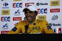Alberto Contador radieux à Pauillac