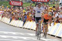 Andy Schleck exulte, il vient de remporter sa première étape sur le Tour