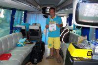 La première partie du bus des Astana, design et confortable
