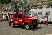 Les sapeurs pompiers dans la caravane