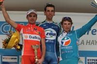 Le podium de la Classic Loire-Atlantique avec Renaud Dion, Laurent Mangel et Pierrick Fédrigo