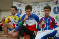 Le podium des Championnats de France Juniors de cyclo-cross 2010