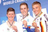 Luke Durbridge, Taylor Phinney, Marcel Kittel, le podium du Championnat du Monde CLM Espoirs 2010