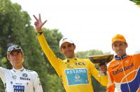 Le podium final du Tour de France 2010
