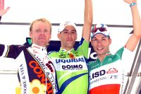 Le podium du Trophée Mélinda 2010 : Borisov, Nibali, Visconti