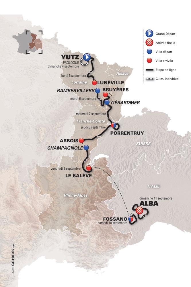 La carte du Tour de l'Avenir 2011