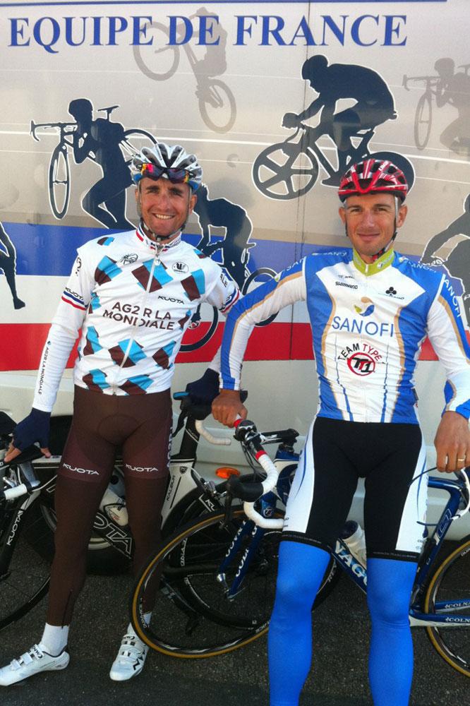 Dimitri Champion et Laszlo Bodrogi en préparation pour les Mondiaux à Reims