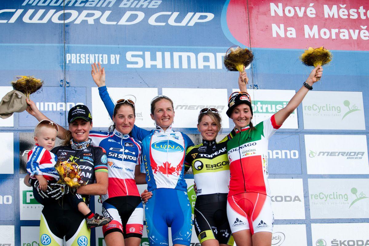 Le podium de la course dames à Nove Mesto