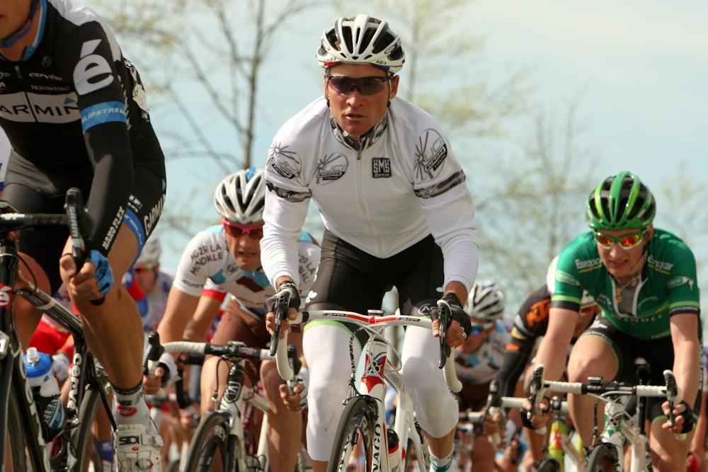 Thomas Voeckler reste reconnaissable avec son maillot de leader de l'UCI Europe Tour