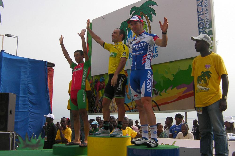 Anthony Charteau, Andy Cappelle et Adil Jelloul sur le podium de la Tropicale Amissa Bongo