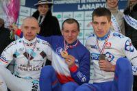 John Gadret, Francis Mourey et Arnold Jeannesson sur le podium du Championnat de France