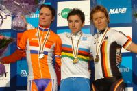 Le podium du Mondial : Marianne Vos et Ina Teutenberg autour de Giorgia Bronzini