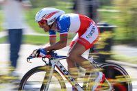 Nicolas Vogondy avec son beau maillot de Champion de France du CLM