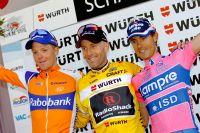 Steven Kruijswijk, Levi Leipheimer et Damiano Cunego sur le podium du Tour de Suisse