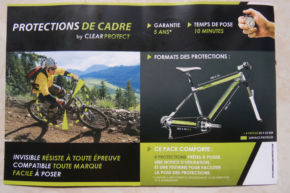 La majeure partie de votre vélo est protégée grâce aux films Clear Protect
