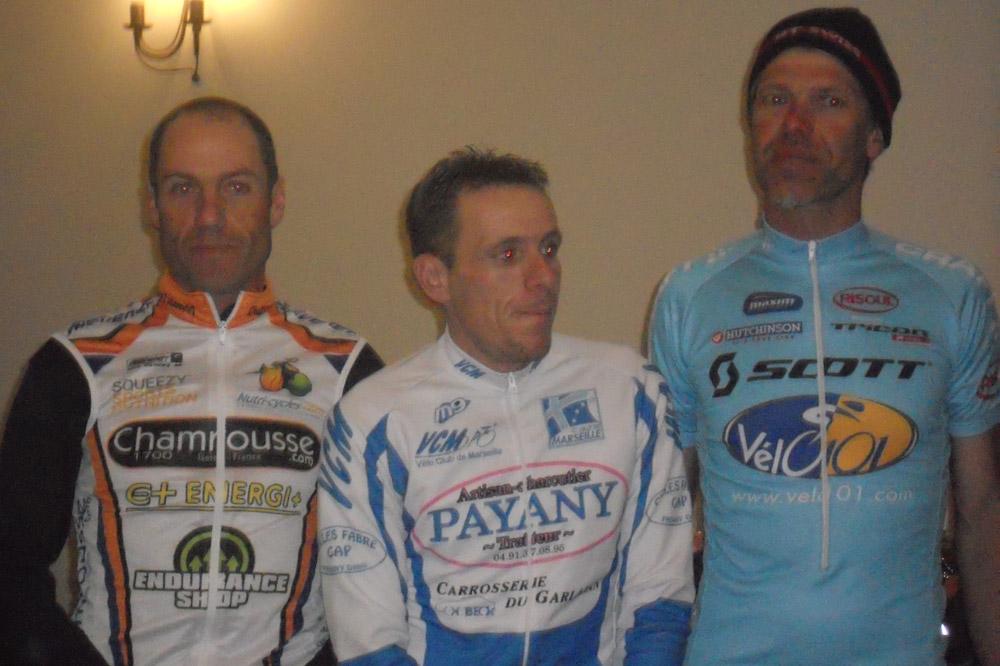 Le podium du 127 km : Jean-Luc Chavanon, Marc Faure et Jean-Pascal Roux