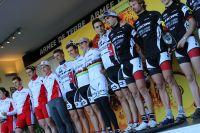 Le team BH-SR Suntour-Peisey Vallandry sur le podium