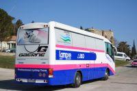 L'arrière du bus Lampre-ISD