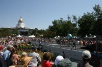 La longue rampe de lancement montée au coeur de Civic Center