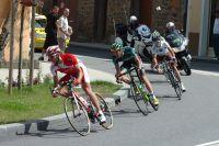 David Moncoutié roule en tête de l'échappée, Christophe Kern et Blel Kadri dans la roue