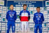 Les médaillés de la course Elites avec Steve Chainel, Aurélien Duval et Francis Mourey