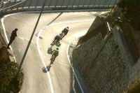 Fabian Cancellara, Simon Gerrans et Vincenzo Nibali descendent le Poggio plein pot