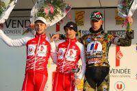 Le podium de la 1ère manche des Plages Vendéennes avec Morgan Lamoisson, Bryan Coquard et Alexis Bodiot