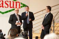 Olivier Clanchin, président de Sojasun, accueille la presse et les invités