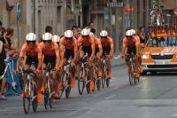 Chez elle, l'équipe Euskaltel-Euskadi réalise un très bon chrono