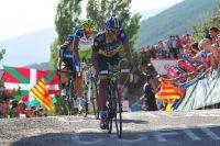 Alberto Contador porte le masque de la souffrance à l'arrivée à Jaca