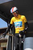 Bradley Wiggins et son maillot jaune au matin de la 6ème étape