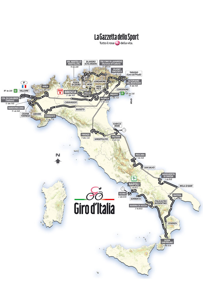 La carte du Giro 2013