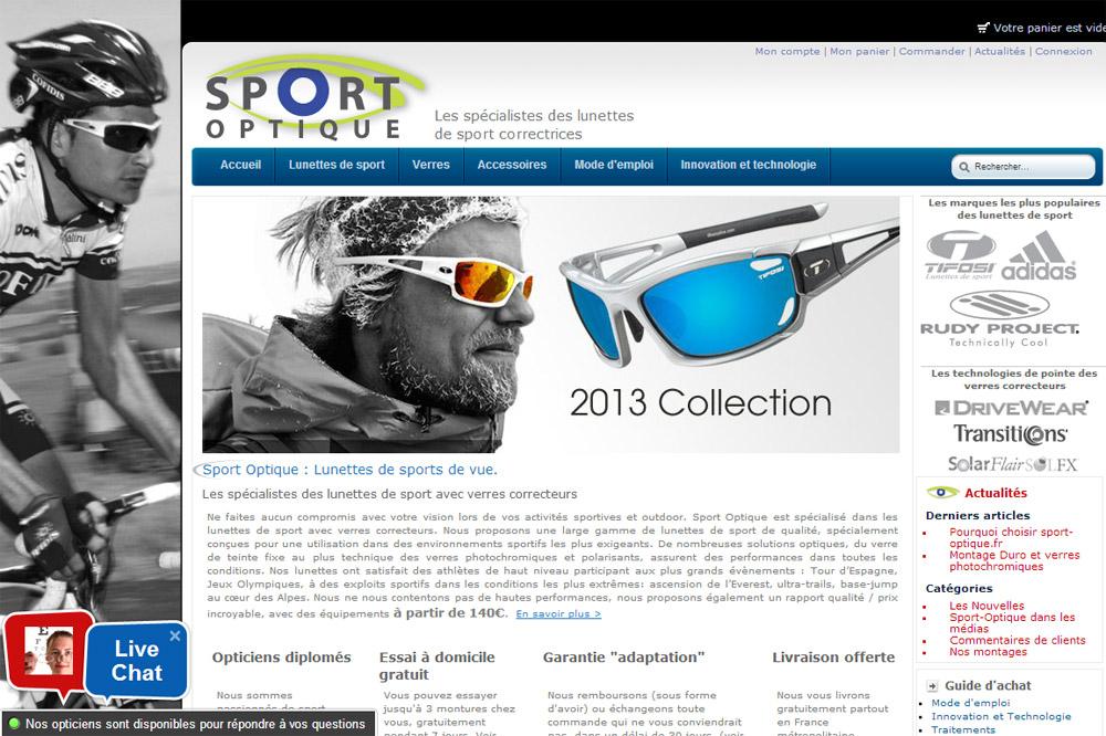 La page d'accueil du site Sport Optique