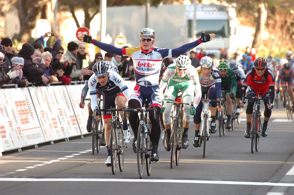 André Greipel gagne par tous les temps, ici au Tour Med