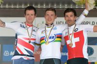 Bradley Wiggins et Fabian Cancellara entourent Tony Martin : royal !