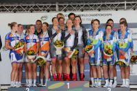 Le podium du Championnat du Monde CLM/équipes féminin