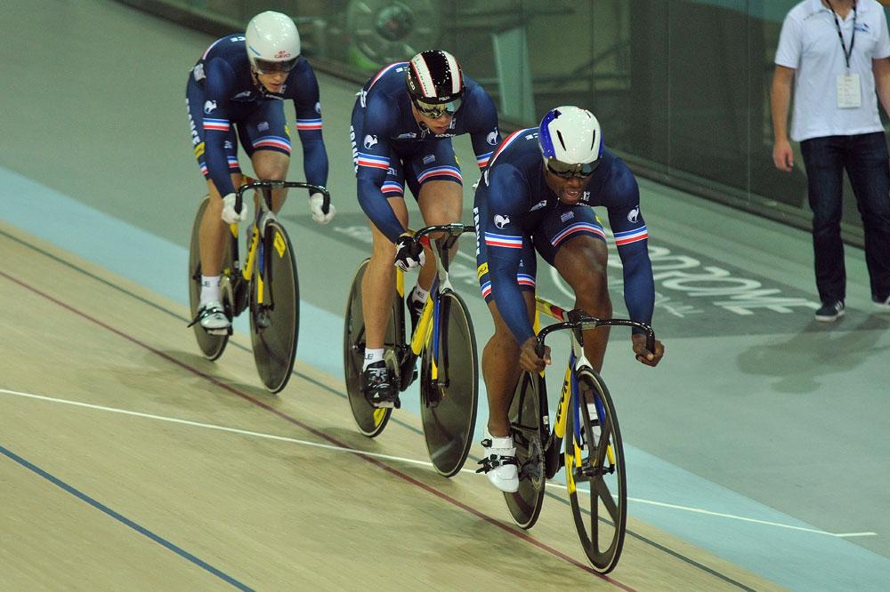 L'équipe de France de vitesse par équipes : Grégory Baugé, Kévin Sireau, Michael D'Almeida
