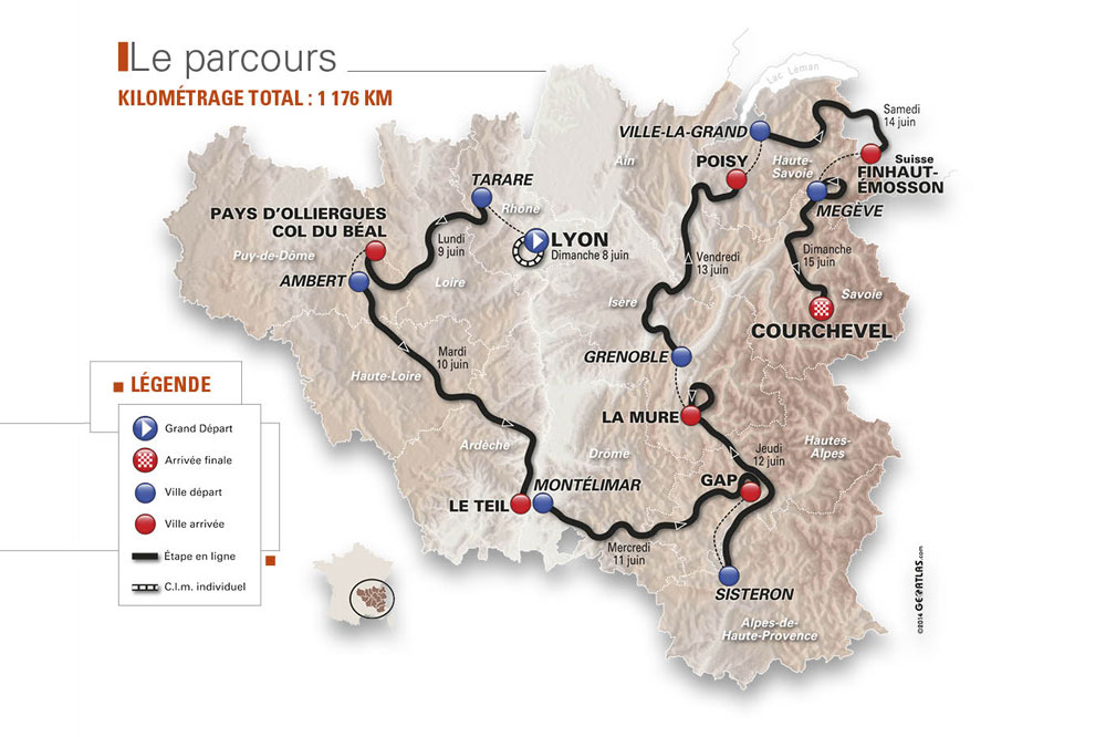 La carte du Critérium du Dauphiné 2014