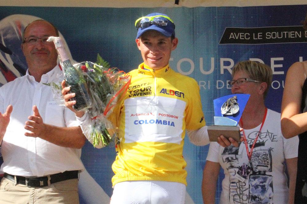 Miguel-Angel Lopez en jaune au Tour de l'Avenir