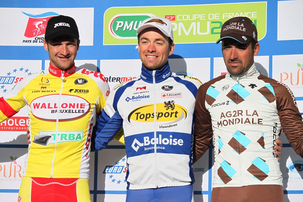 Le podium de Cholet-Pays de Loire : Tom Van Asbroeck, Sébastien Delfosse et Sébastien Turgot