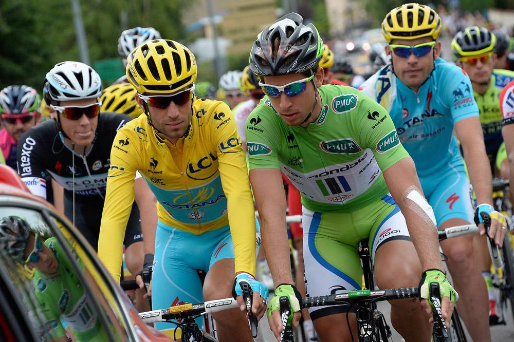 Vincenzo Nibali au défilé avec Peter Sagan