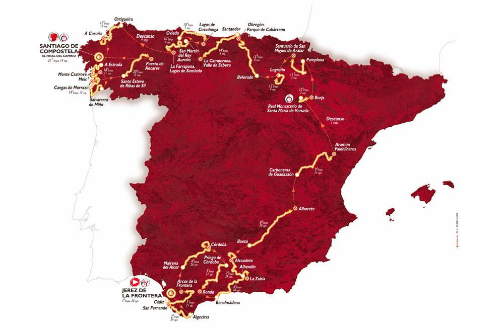Le tracé de la Vuelta 2014