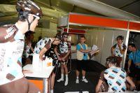 Laurent Biondi brieffe ses gars avant la sortie d'entraînement