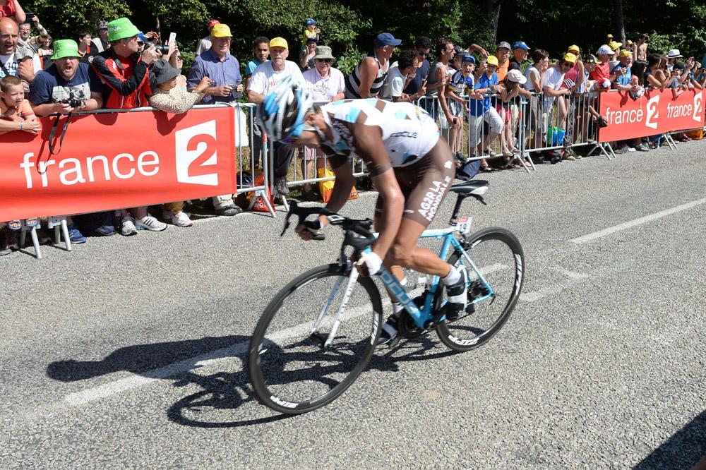Alexis Vuillermoz en plein effort vers Mûr-de-Bretagne