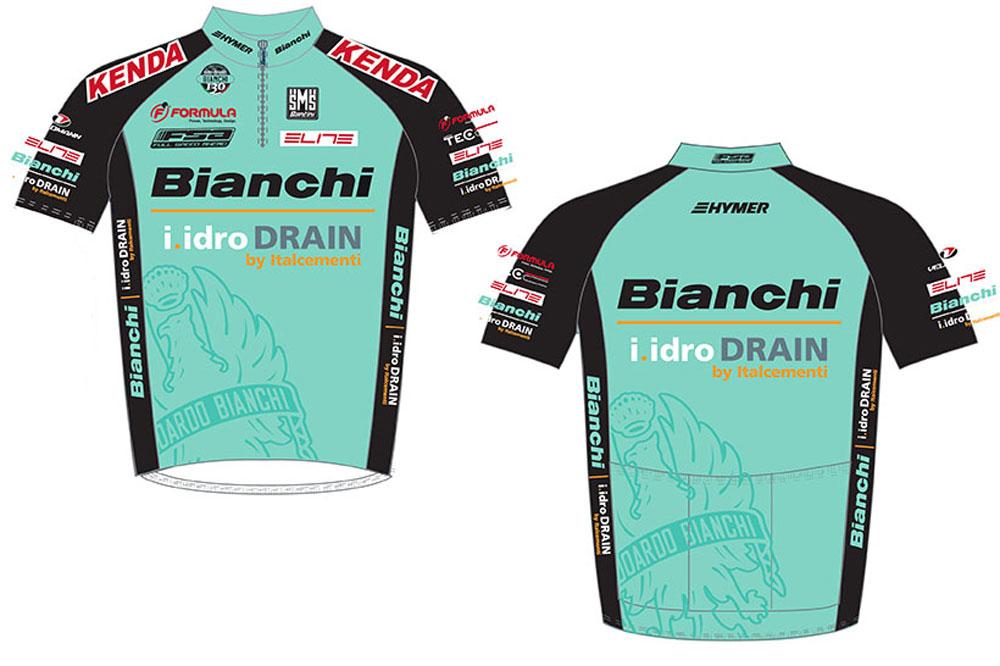 Le maillot du team Bianchi-i.idro Drain