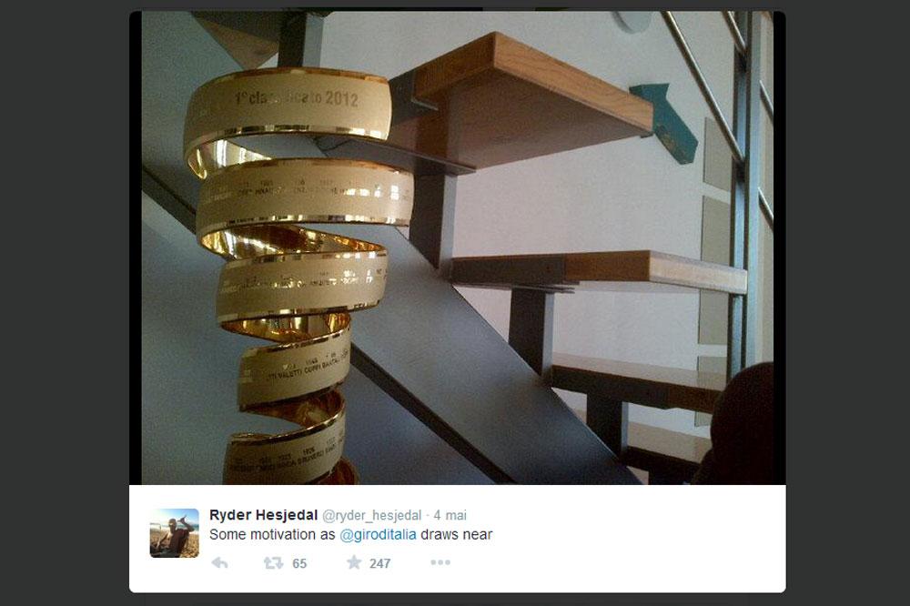Le tweet de Ryder Hesjedal